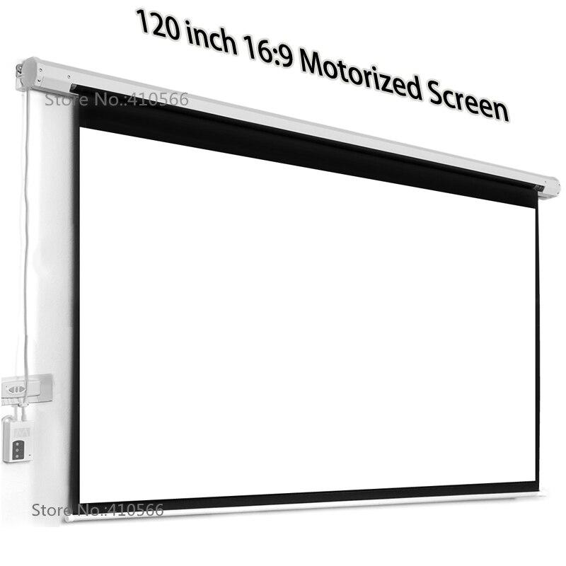 Approvisionnement D'usine professionnel 120 pouce Écran Motorisé 16:9 Large Blanc Mat Projecteur Écrans Électriques Pour Bureau Salle de Cinéma