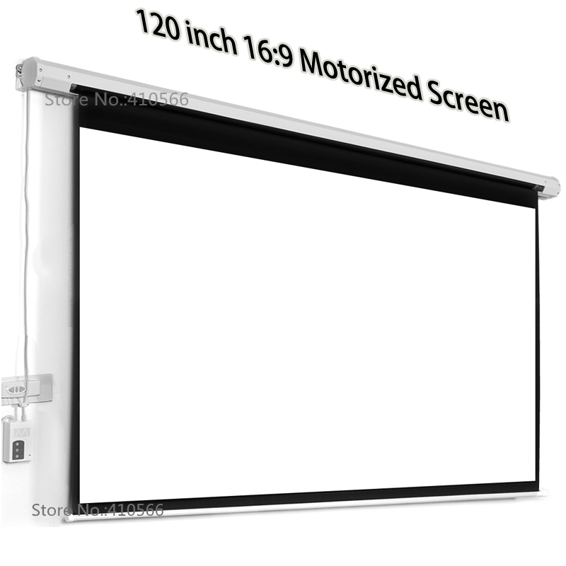 Professional Factory Supply 120 Inch Motorized Screen 16:9 Wide Matt White Projector Electric Screens For Office Cinema Room good gain cinema projection screen 16 9 curved fixed frame projector screens 120 inch hd matt white suit for 3d cinema display