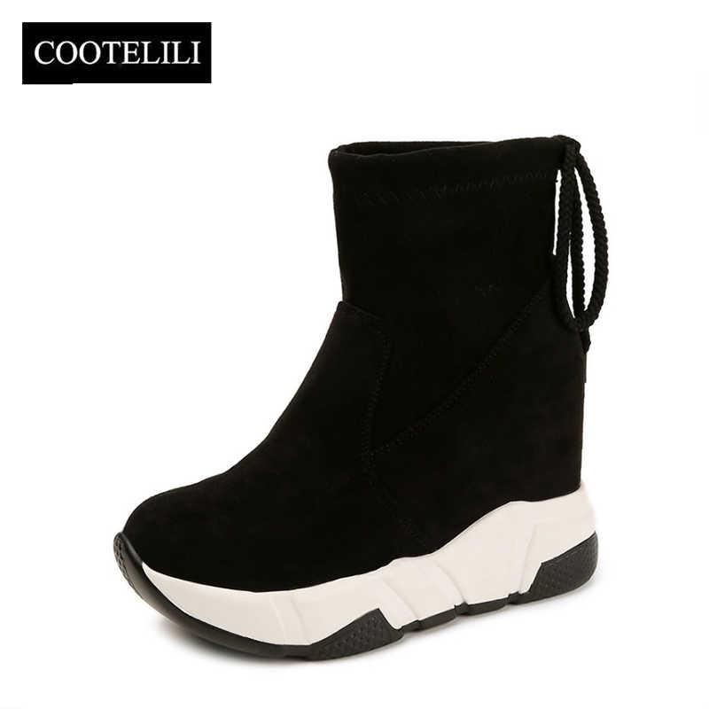 COOTELILI נשים קרסול מגפי פלטפורמות נעלי אישה עקבים גבוהים בתוך גובה הגדלת פו זמש מגפי תחרה עד נעלי ספורט 35- 39