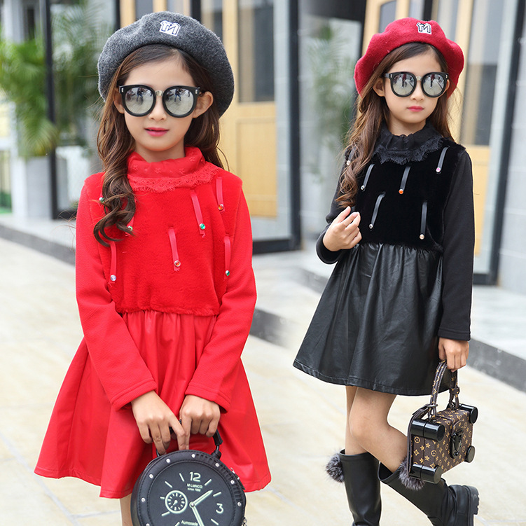 ФОТО 2017 New Autumn Spring Thicken Warm Baby Girl Dress Pu Leather Gown Dress With Faux Fur Collar Baby Girl Vest Dresses 2-7T