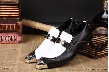 2018 New Genuine Leather Mens Formal  Office Party Wedding Slip On Dress black white Iron head Shoes