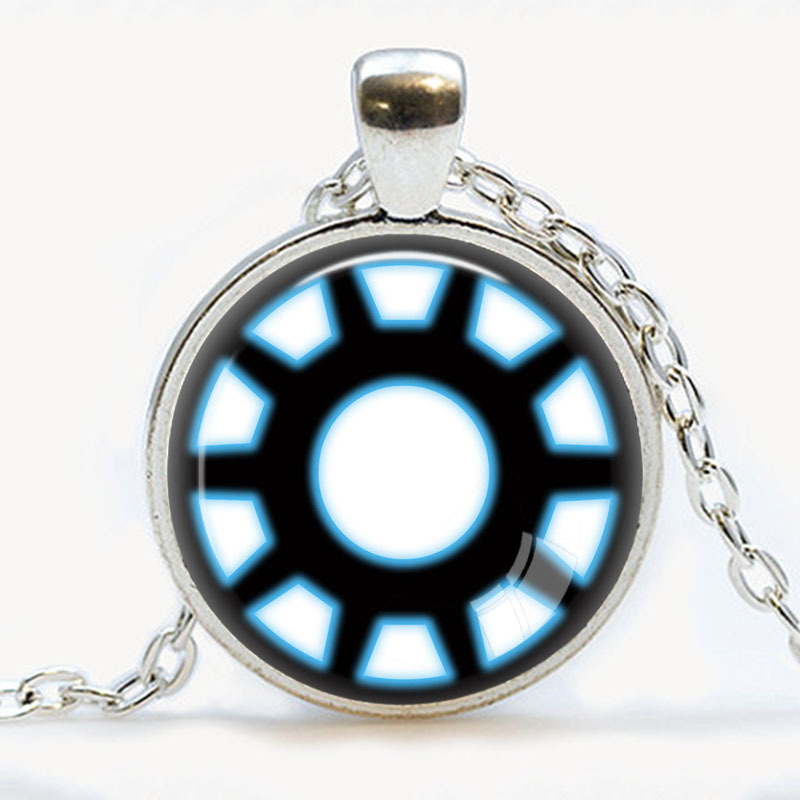 Handmade iron man necklace arc reactor pendant tony stark armor suit handmade iron man necklace arc reactor pendant tony stark armor suit jewelry avengers blue power pendants round glass kids gift in pendant necklaces from aloadofball Image collections