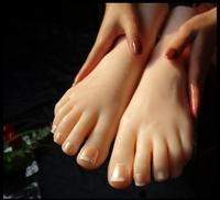 NEW ARRIVAL! 1 Pair Realistic Silicone Lifesize Female fake Mannequin Foot Display For Shoes And Socks Simulation foot sex toys