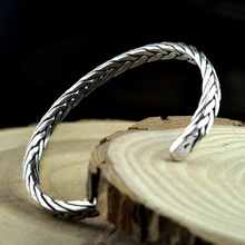 NEW! 925 Sterling Silver Bracelet&Bangle for men women Vintage S990 Thai Silver Embossed Opening Bracelet Jewelry Birthday Gifts недорого