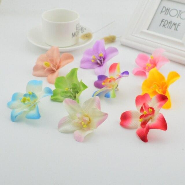 1pcs 7cm artificial silk orchid flower head for wedding decoration 1pcs 7cm artificial silk orchid flower head for wedding decoration diy crown gift scrapbooking fake flowers mightylinksfo