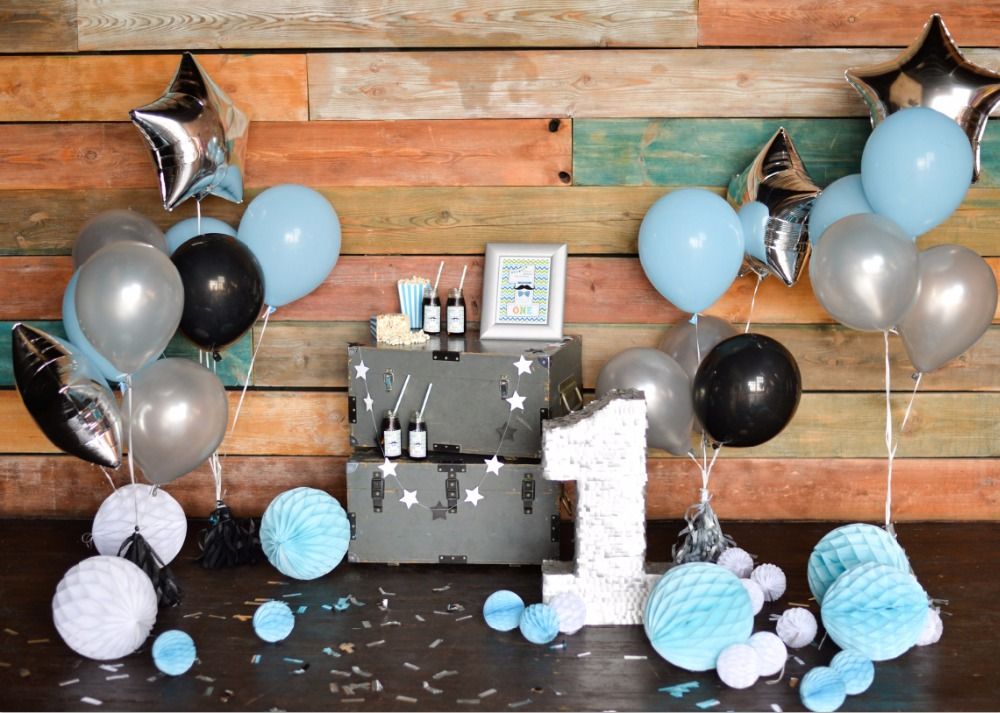 7x5FT Chic Paper Balls Balloons Baby Shower Wood Pallets ...