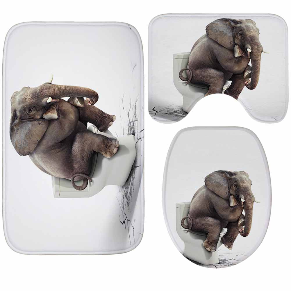 Elephant On Toilet Mat 3 Piece Bathroom Mats and Rugs