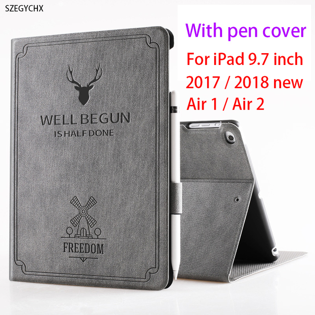 With Pencil Cover For new iPad 9.7 inch 2017 2018 model Air 1 air 2 Freedom  PU Leather Smart Cover Folio Silicone Case Auto Wake 9c59d51546c97