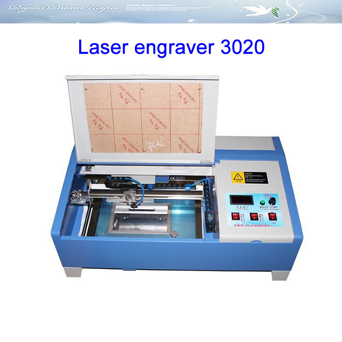 Free shipping!!! CO2 Laser engraver 3020 Engraving Machine, with digital function and honeycomb stamp laser machine 3020 with lift system up and down function 40w heigh configration