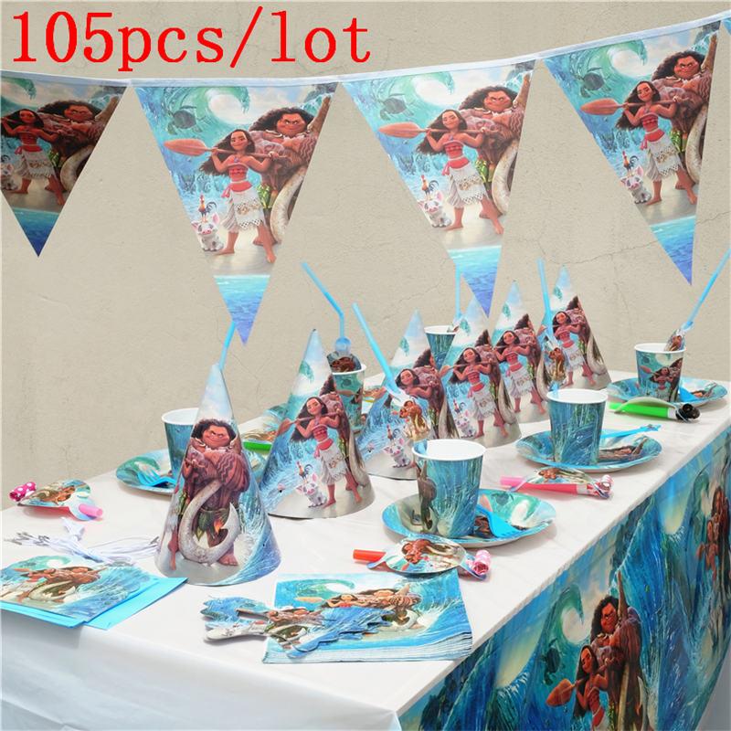 105 unids/lote película Moana Maui tema conjunto de decoración para fiesta de cumpleaños para 10 suministros de fiesta Vestido de princesa de La Sirenita de las muchachas de voguek para niños disfraz de fantasía de Ariel de verano ropa de fiesta de playa de escala para niños