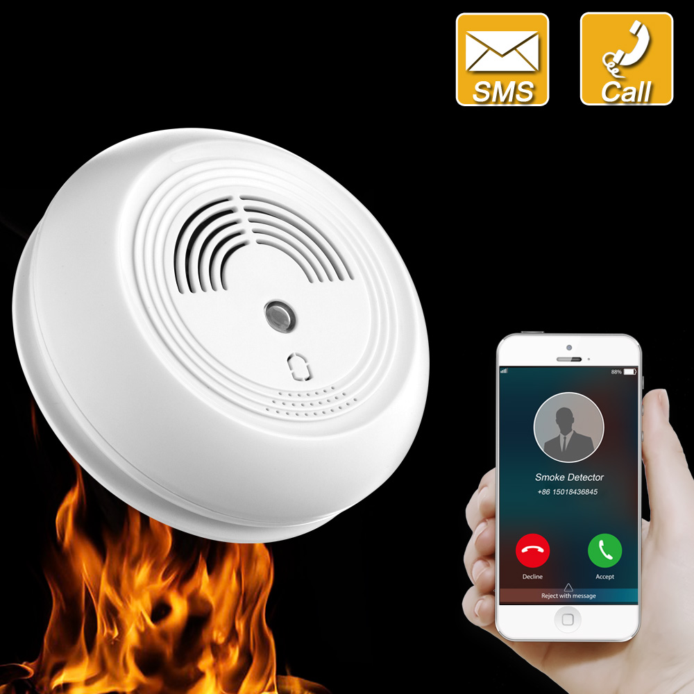 Wireless Gsm Sms Photoelectric Smoke Alarm Detector Fire