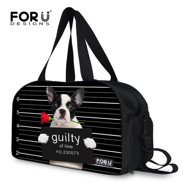 Lovely Design Animal Dog Duffle Bag For Women Men Large Capacity Folding Traveling Bags Black Cute