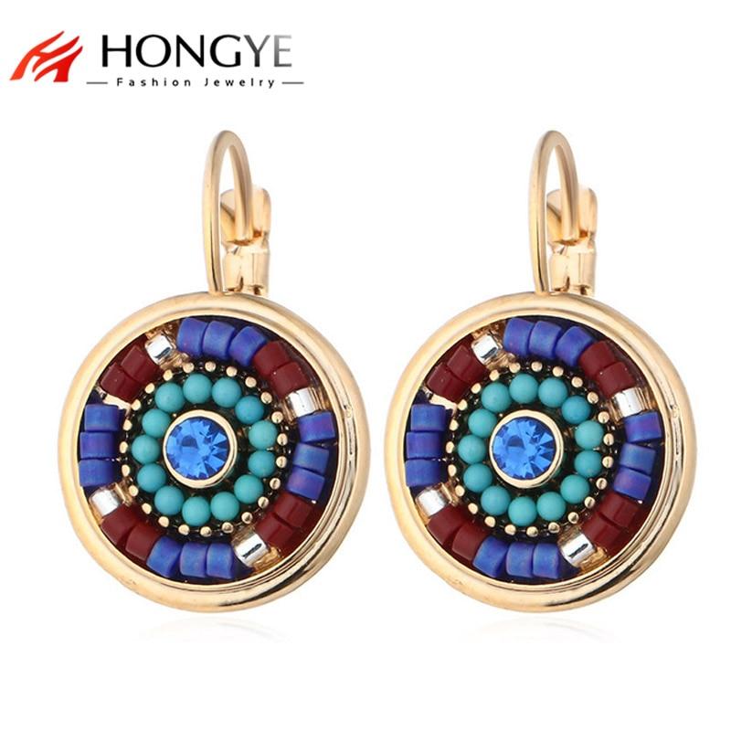 Hot Selling Bohemia Smycken Multicolor Resin Pärlor Crystal Rhinestone Clip Örhängen Runda Manschetter på Ear Brincos Kvinnor Vän Gift