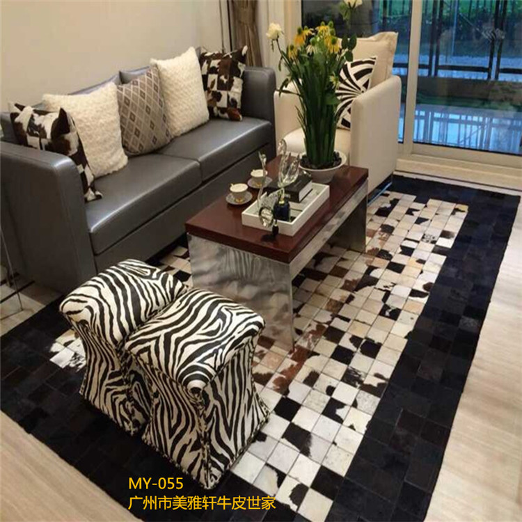 free beauty 100% natural genuine cow leather customized carpets for living room