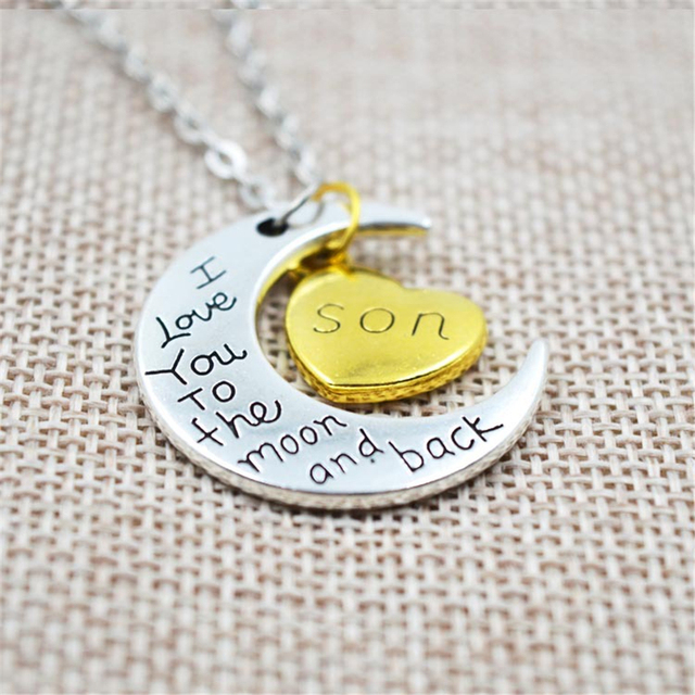 I Love You To The Moon And Back Silver Family Necklaces