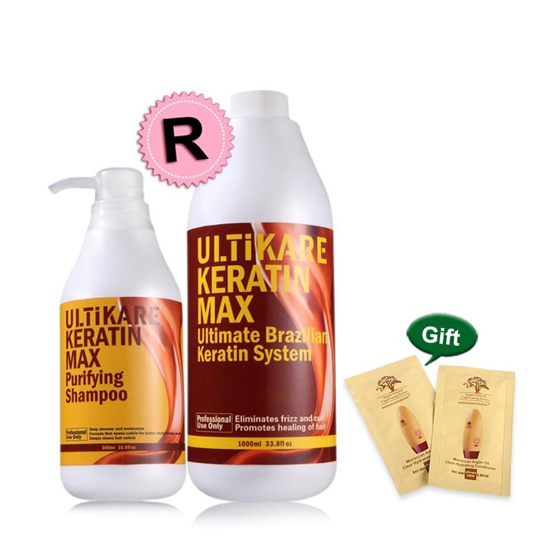 Offre spéciale brésilienne 1000ml traitement des cheveux à la kératine 12% formol avec une seule pièce 500ml shampooing purifiant pour les cheveux