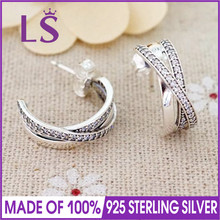 LS 925 Sterling-Silver-Jewelry CZ Crystal Entwined Half Stud Earrings For Women Girls bijoux Wedding Engagement Accessories W