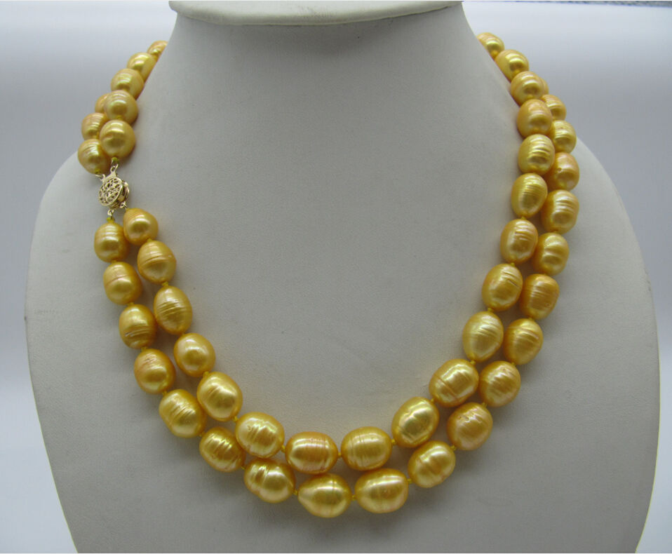 beautiful 11-13MM SOUTH SEA YELLOW PEARL NECKLACE 18-19 INCH beautiful 11-13MM SOUTH SEA YELLOW PEARL NECKLACE 18-19 INCH