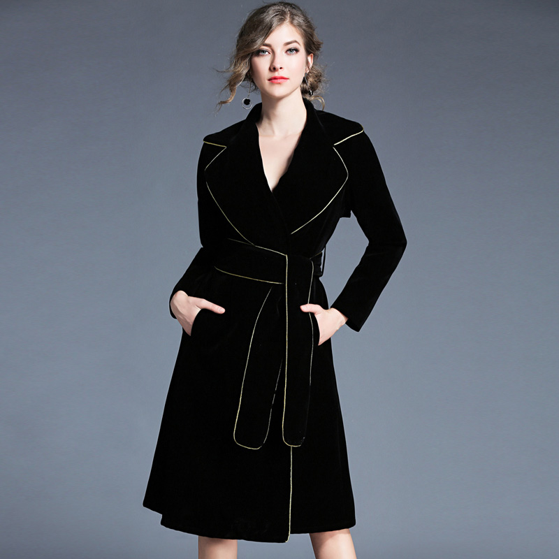 2017 Women winter New black Belt Slim Jacker lady Turn-down Collar coat Golden edge cool outerwear Jacket Office Lady coat