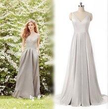 Elegante Frauen Formal Dress Echt V-ausschnitt Falten Satin Lange Abendgesellschaft Kleider Bodenlangen Einfache Grau Abendkleid 2017