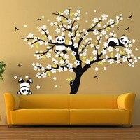 Énorme Blanc Cherry Blossom Arbre Stickers Muraux Pépinière Autocollants Décoratifs Jouer Panda Sticker pour Enfants Chambre Canapé Fond