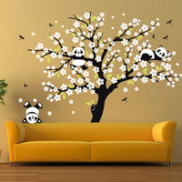 Huge White Cherry Blossom Tree Wall Stickers Nursery Decorative Decals Playing Panda Wall Decal For Kids