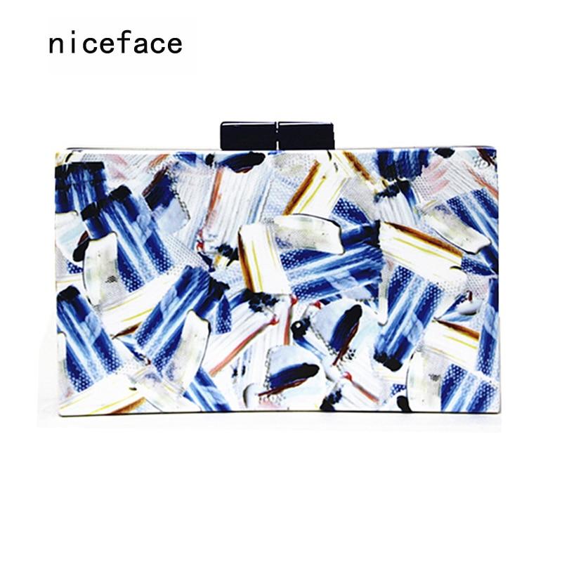 2017 Women messenger bags brand fashion new Clutch Contrast print wallet woman evening bag bolsa feminina