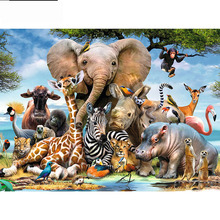Full Square/Round Drill 5D DIY Diamond Painting Elephant Forest 3D Embroidery Cross Stitch  Home Decor full square drill 5d diy girl elephant moon balloon night diamond painting cross stitch 3d embroidery kits home decor h39