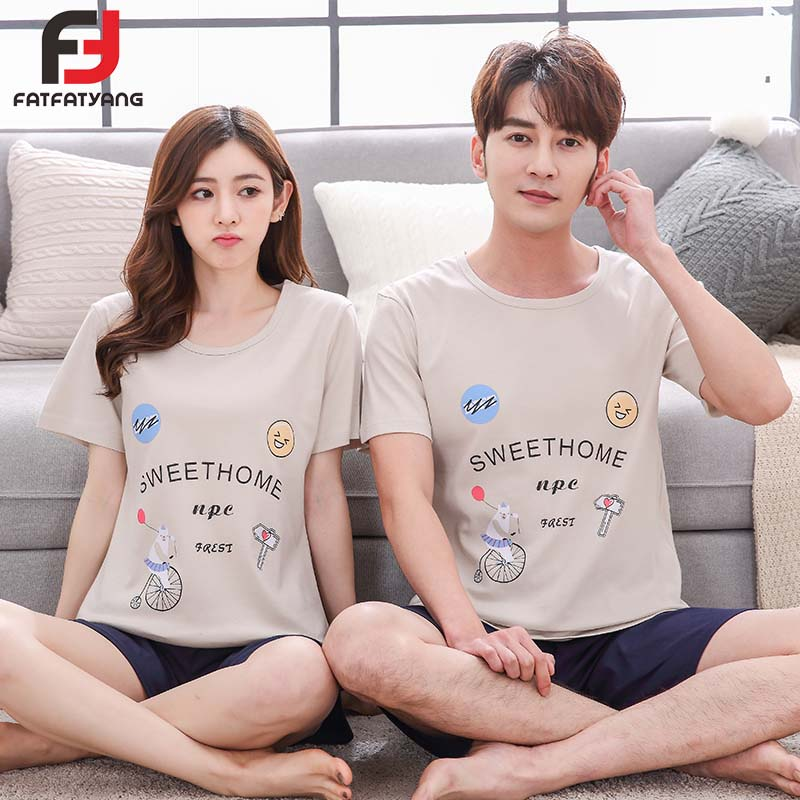 100% Cotton Couple Pajama Sets Short Sleeve Letter Print Men Pajamas Set Casual Indoor Clothing Women Pyjamas New Arrival 2018
