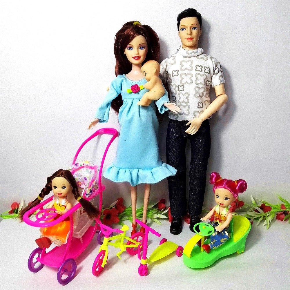 Fashion Toys Family 5 People Dolls Suits 1Mom/1Dad /2 Little Kelly Girl /1Son/1Baby Carriage Real Pregnant Doll for Barbie Gifts