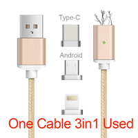 ALONGDUO Braided 3 IN 1 Magnetic Cable For Iphone6s USB Data Fast Charging Cable For Samsung