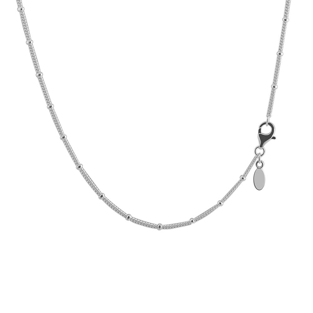 Necklaces &Pendants Silver Beaded Chain with Clear CZ DIY Sterling-Silver-Jewelry Silver 925 Pingente