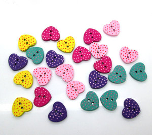50Pcs Mixed Heart Wood Shape Apparel Sewing Buttons For Kids Clothes Scrapbooking Decorative Handicraft DIY Accessories