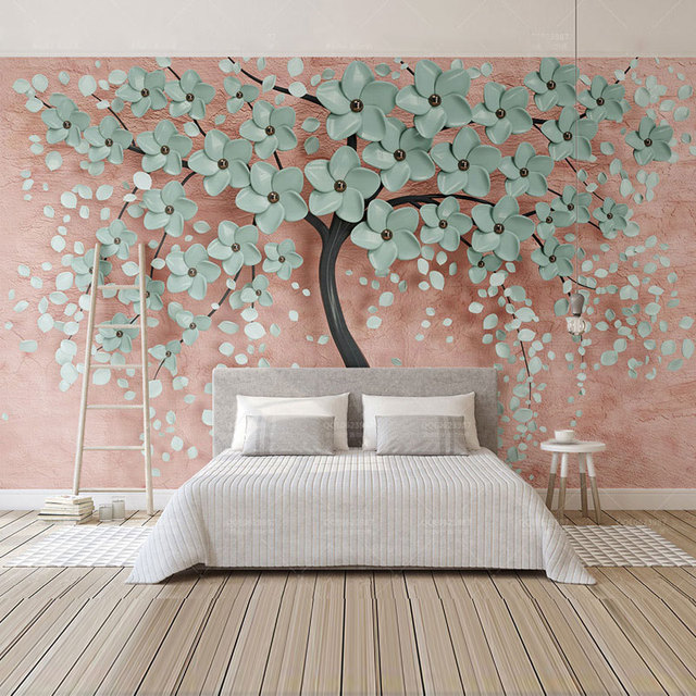 Home Decor Wall Papers 3d Embossed Tree Wall Painting Custom Photo