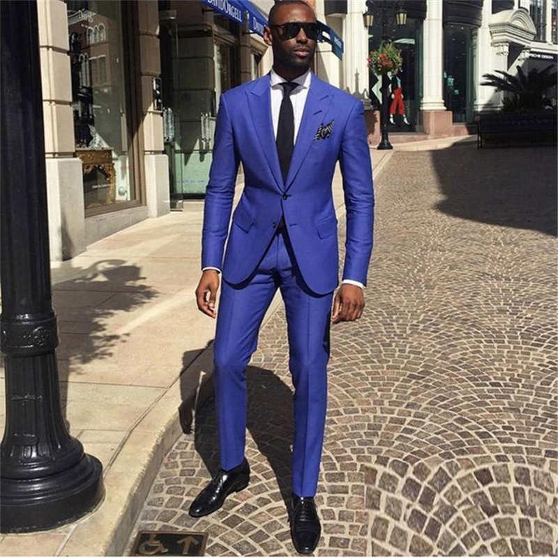 Royal Blue Groom Tuxedos Peak Lapel Men Wedding Tuxedo Fashion Men Jacket Blazer Men Dinner/Darty Suit (Jacket+Pants+Tie)