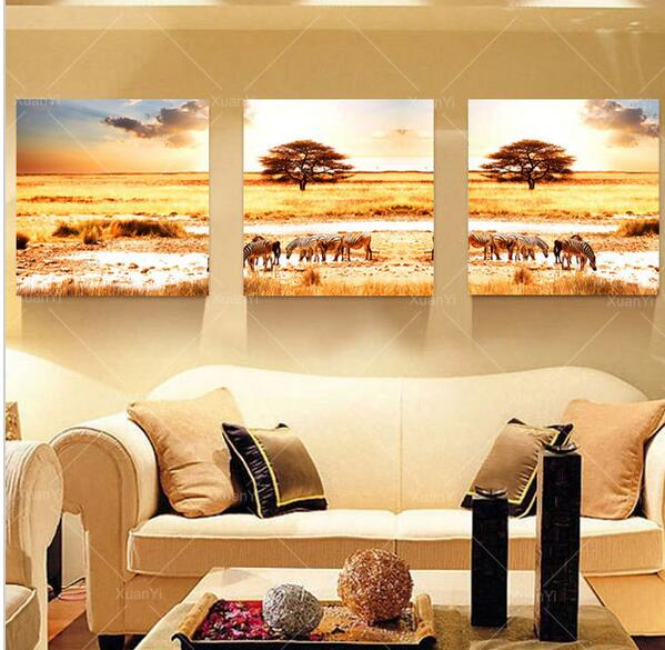 3 Piece Oil Painting Picture Canvas Painting African Safari Home ...