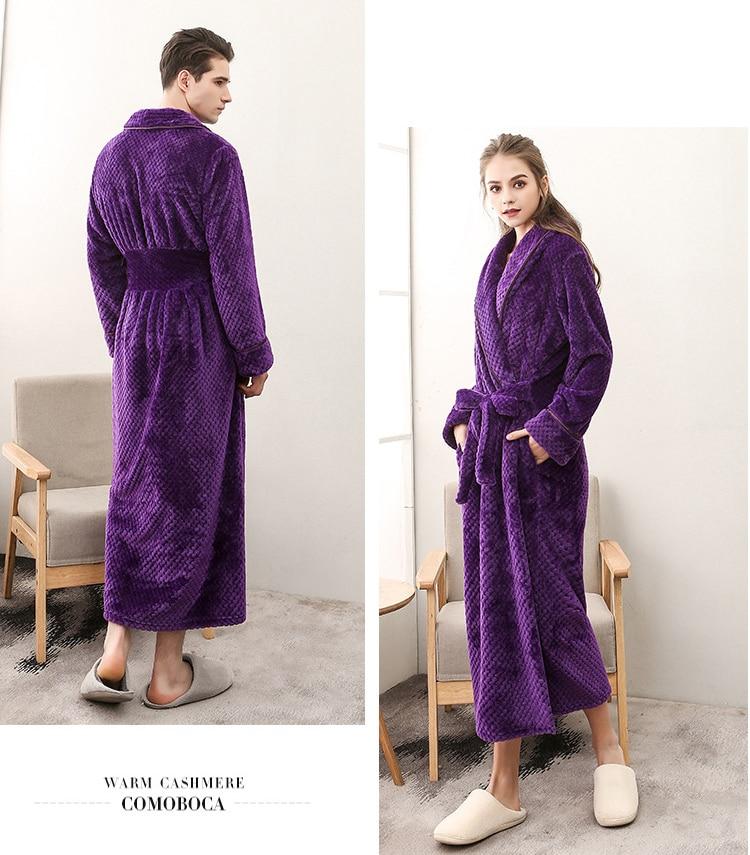 Winter Male Femlae Bathrobe Flannel Thick Robe Long Sleeve Soft Warm Bathrobe Men Women Home Wear Gown Robes Dressing Gown     8