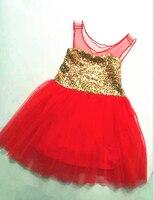 2016 Baby Mädchen Pailletten Weste Mesh Tutu Kleider, prinzessin Fairy Tulle Party Tanzkleid Rot Für Weihnachten, 5 teile/los, großhandel