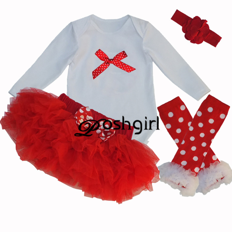 Cute Jumpsuit Tutu Dresses Sets for Baby Girl Red Bow Bodysuit Newborn Clothing 6 Layer Tutu Dress BEBE Clothes Outfit Set Suits