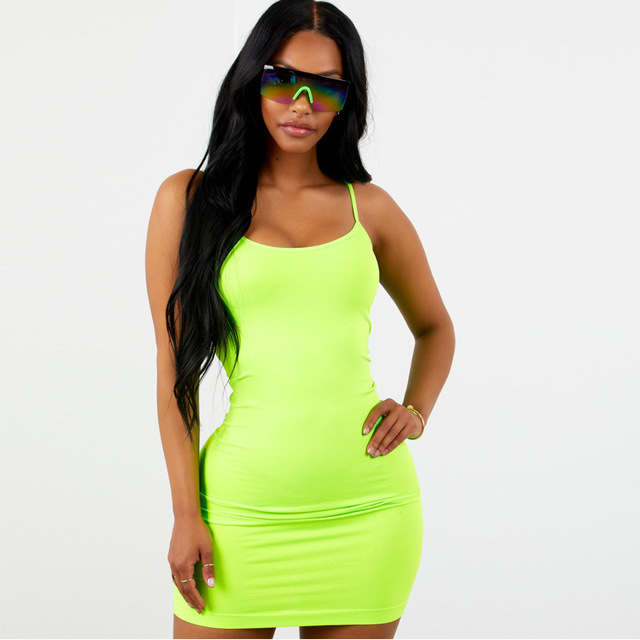 SEXEMARA Fluorescent Color Mini Bodycon Dress Women Kyliejenner Casual Sexy Dresses Party Night Club Dress 2018 Fall C70-AZ07 2