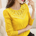 New Women Casual Basic Autumn Summer Style Lace Chiffon Blouse Top Shirt Hollow out blusas patchwork Full Sleeve Plus Size