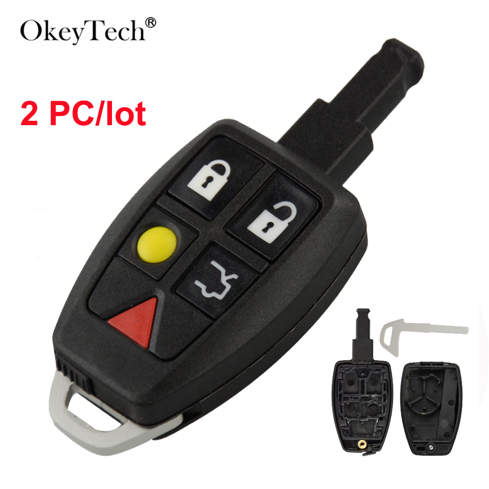 OkeyTech 2PC Smart Card Remote Car <font><b>Key</b></font> Shell For <font><b>Volvo</b></font> <font><b>S40</b></font> S60 S70 S80 V40 V70 XC90 XC70 Modified <font><b>Replacement</b></font> Case Cover Housing image