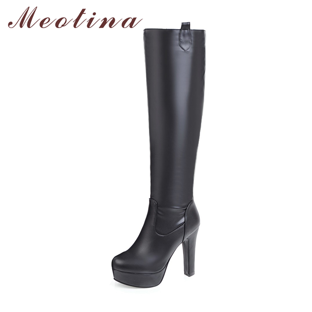 meotina boots women winter knee high boots platform high. Black Bedroom Furniture Sets. Home Design Ideas