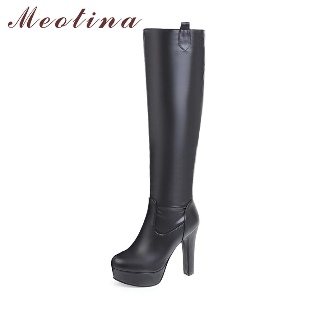 Meotina Bottes Femmes Hiver Genou Haute Bottes Plate-Forme Haute Talon Long bottes Grande Taille 44 45 Bout Rond Sexy Chaussures bottes femme noir