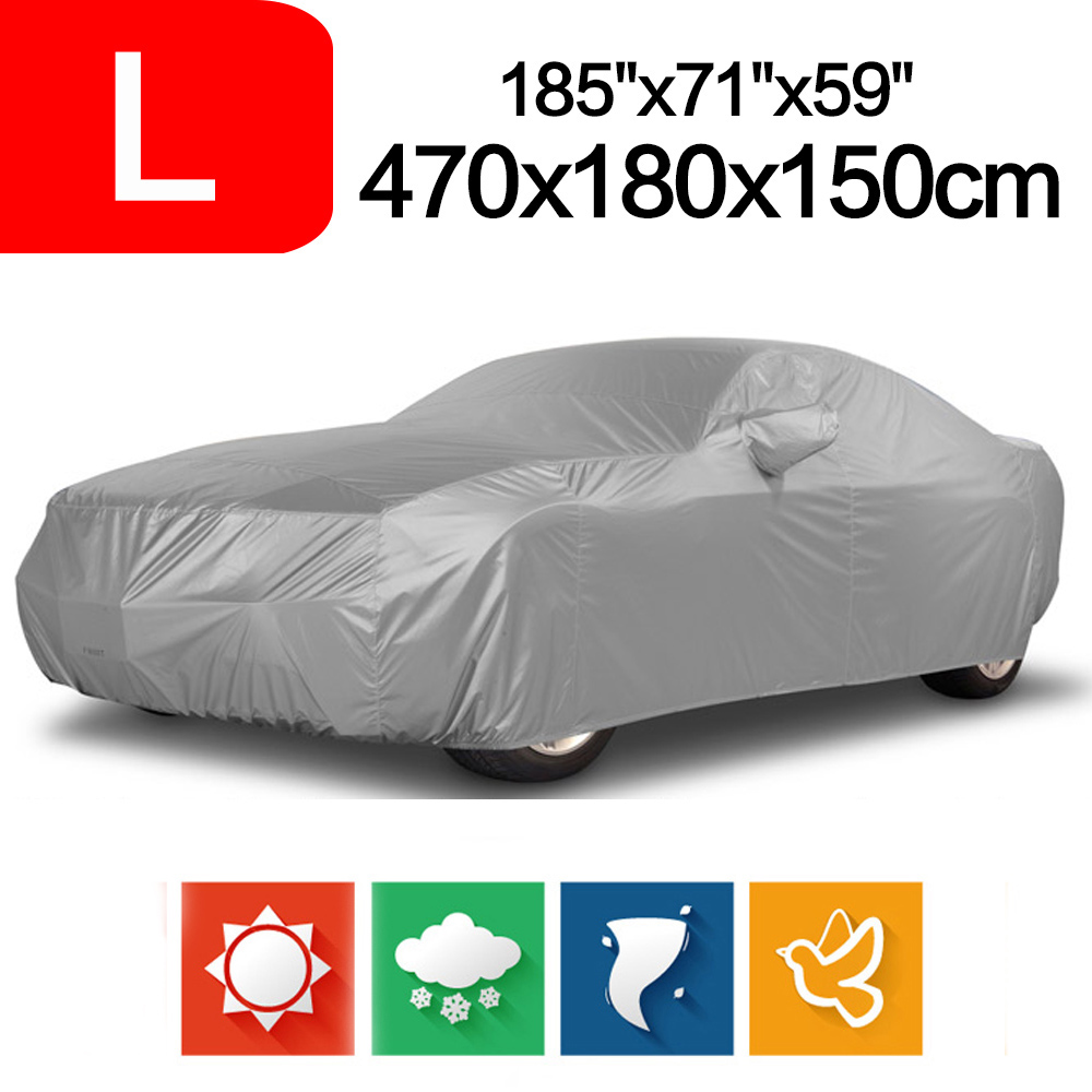 Size L Outdoor Full Car Cover Sun UV Snow Dust Resistant Protection Car Covers 470 x 180 x 150 cm