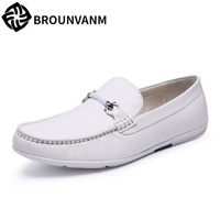 A Song Of White Shoes Shoes Leather Shoes All Match Korean Men Driving Fukuo Slip On