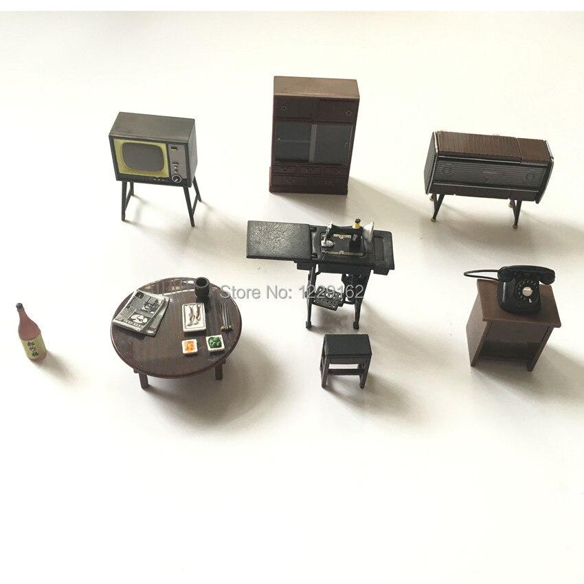 6 Stks/set Retro Meubels Magneten Hars Koelkast Magneet Woondecoratie Tv Tafel Fonograaf Whiteboard Bericht Sticker Matige Prijs