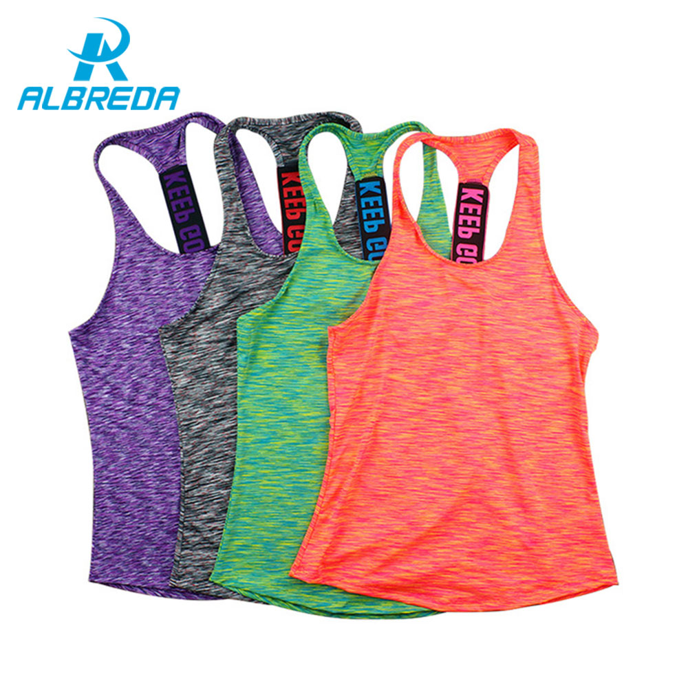 ALBREDA Femmes Professionnel de yoga gilet sans manches Rapide Séchage rapide En Cours D'exécution Débardeurs Gym sport Yoga chemise de remise en forme Gilet 4 couleurs