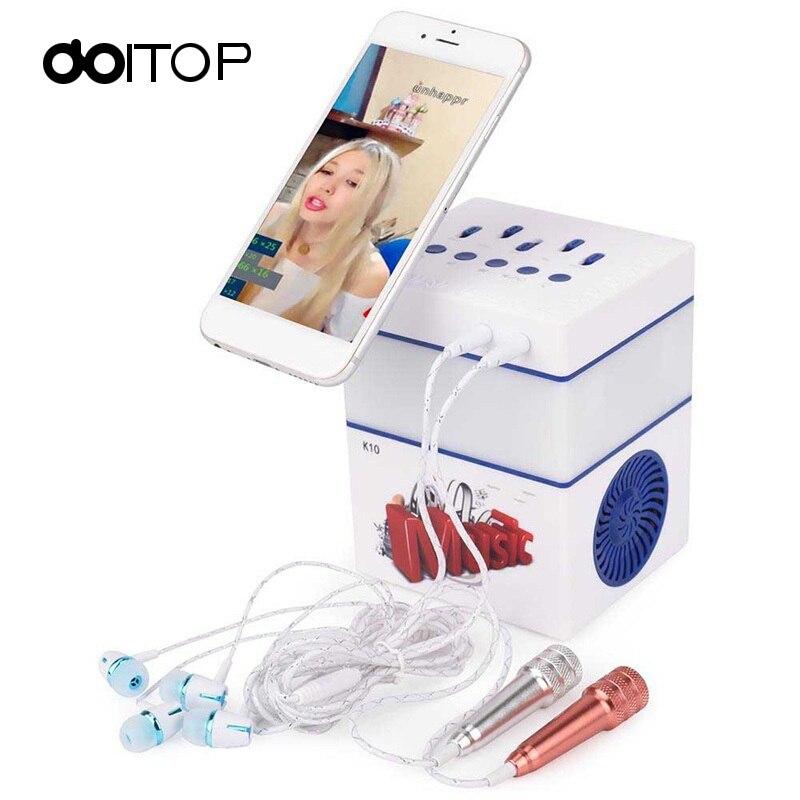 DOITOP karaoké sans fil Bluetooth Microphone chantant Machine Bluetooth haut-parleur avec lumière LED maison KTV karaoké MIC pour téléphone B4