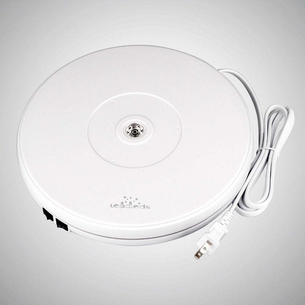 Load 11kg 25 cm White Electric Motorized Rotating Display Turntable for Model Jewelry display stand or